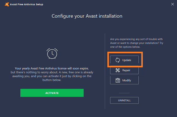 avastui.exe is currently not running