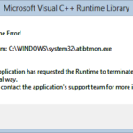 atibtmon.exe runtime error on windows 10