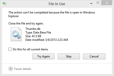 the action cannot be completed because the file is open in another program
