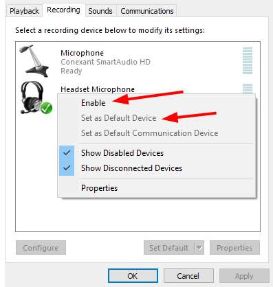 Enable mic and set as default
