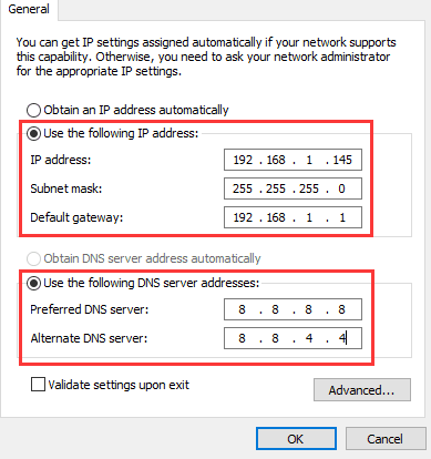 computer doesnt have valid ip configuration