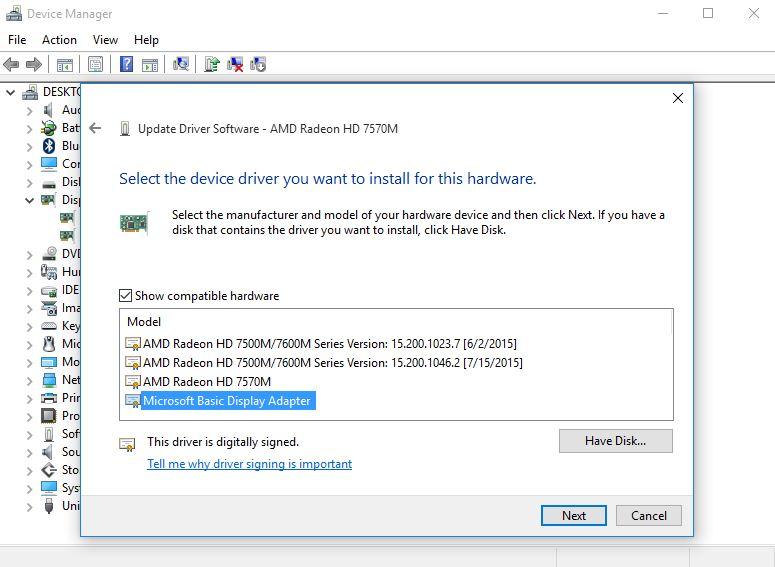 Microsoft-Basic-Display-Adapter brightness issues in windows 10