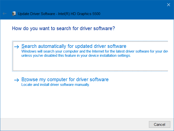 automatically update graphics driver to fix brightness issue in windows 10
