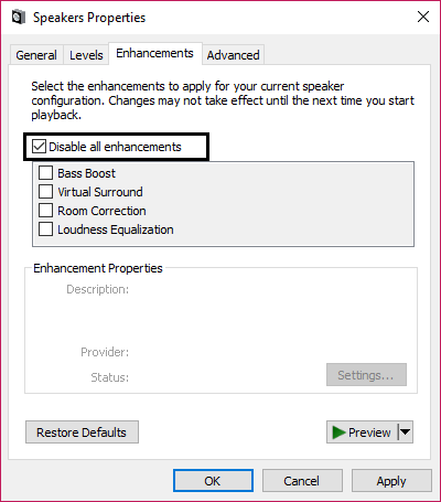disable all enhancements failed to play test tone in windows