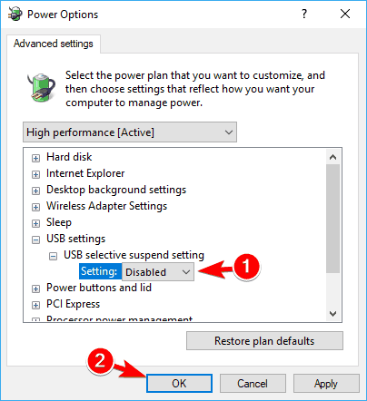 disable usb selective suspend usb ports not working in windows 10