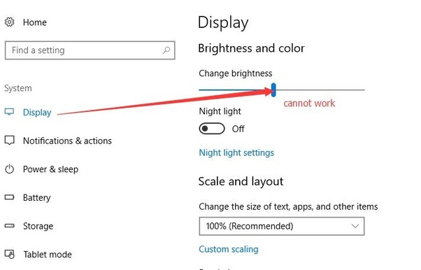 windows 10 cannot adjust brightness