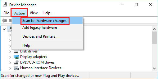 scan for hardware changes battry icon missing in wndows 10