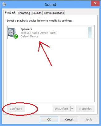 sound playback configure failed to play test tone in windows