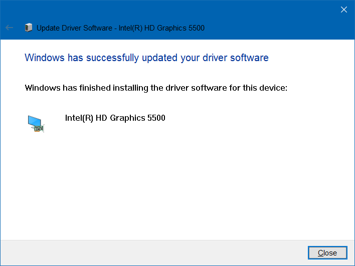 sucessfull update of graphics driver
