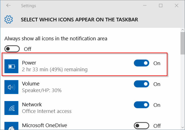 turn on battery icon missing from Windows 10
