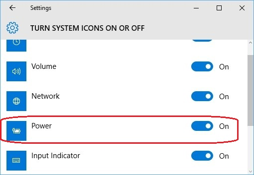 turn on power option battery icon missing from Windows 10