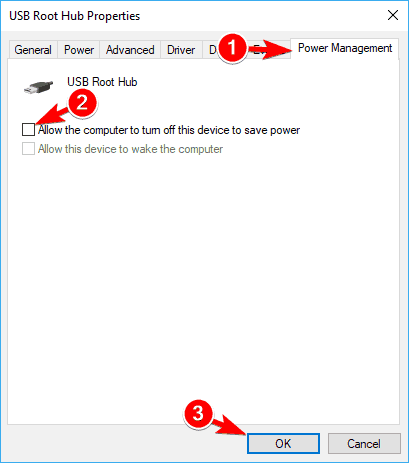 uncheck power management usb ports not working in windows 10