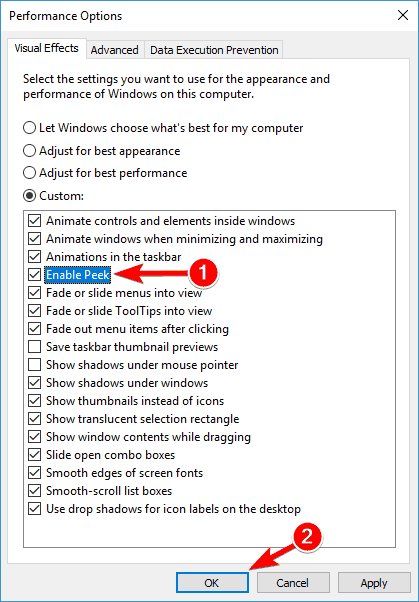 enable peek alt tab not working in windows