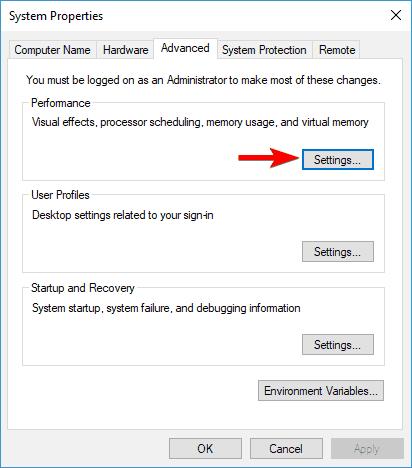 performance settings alt tab not working in windows