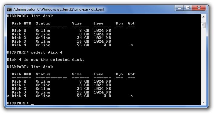 select disk delete efi partion