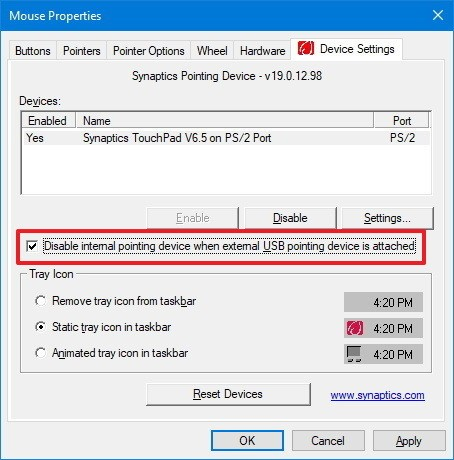 uncheck mouse properties synaptics disable touchpad windows 10