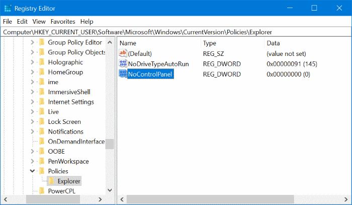 nocontrolpanel enable setting windows 10 setting not opening