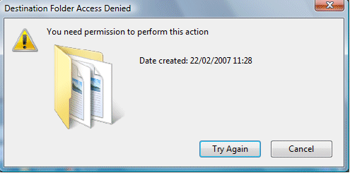 destination folder access denied windows 10 you need permission to perform this action