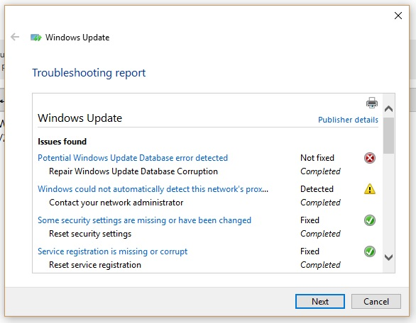 Potential Windows Update Database Error Detected