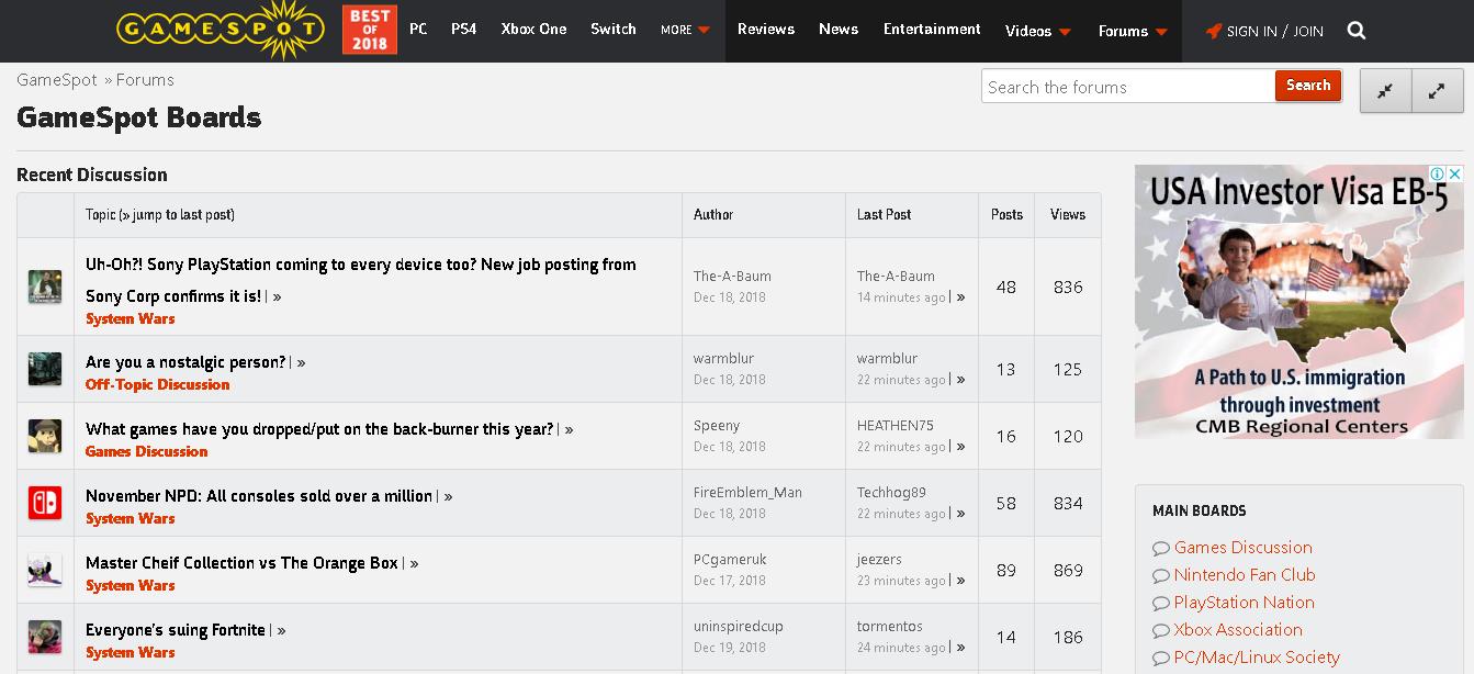 Gamespot: Best gaming forums
