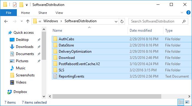 Windows SoftwareDistribution folder