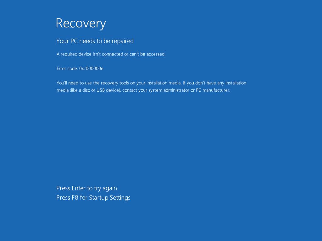 for for 0xc000000e boot error in windows