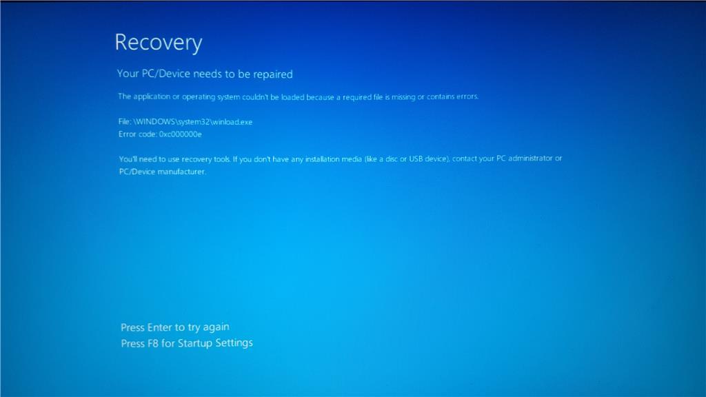how to fix 0xc000000e boot error in windows