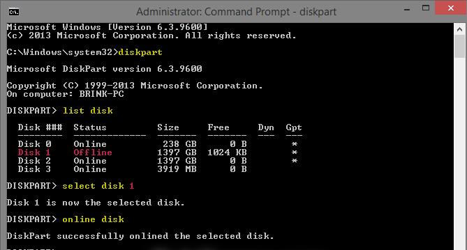 Command Prompt diskpart